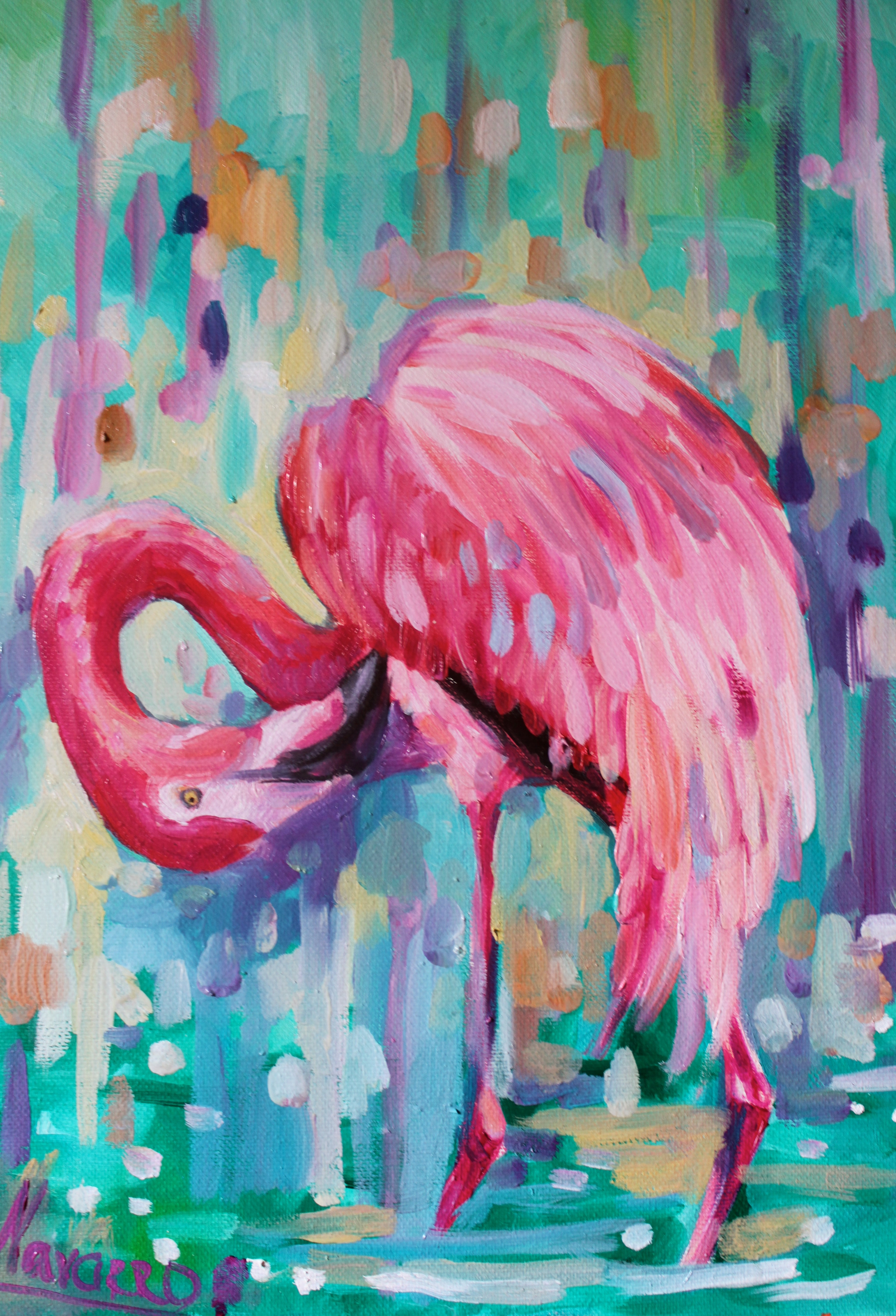 Quot Pink Summer Quot Flamingo Art Art Studio