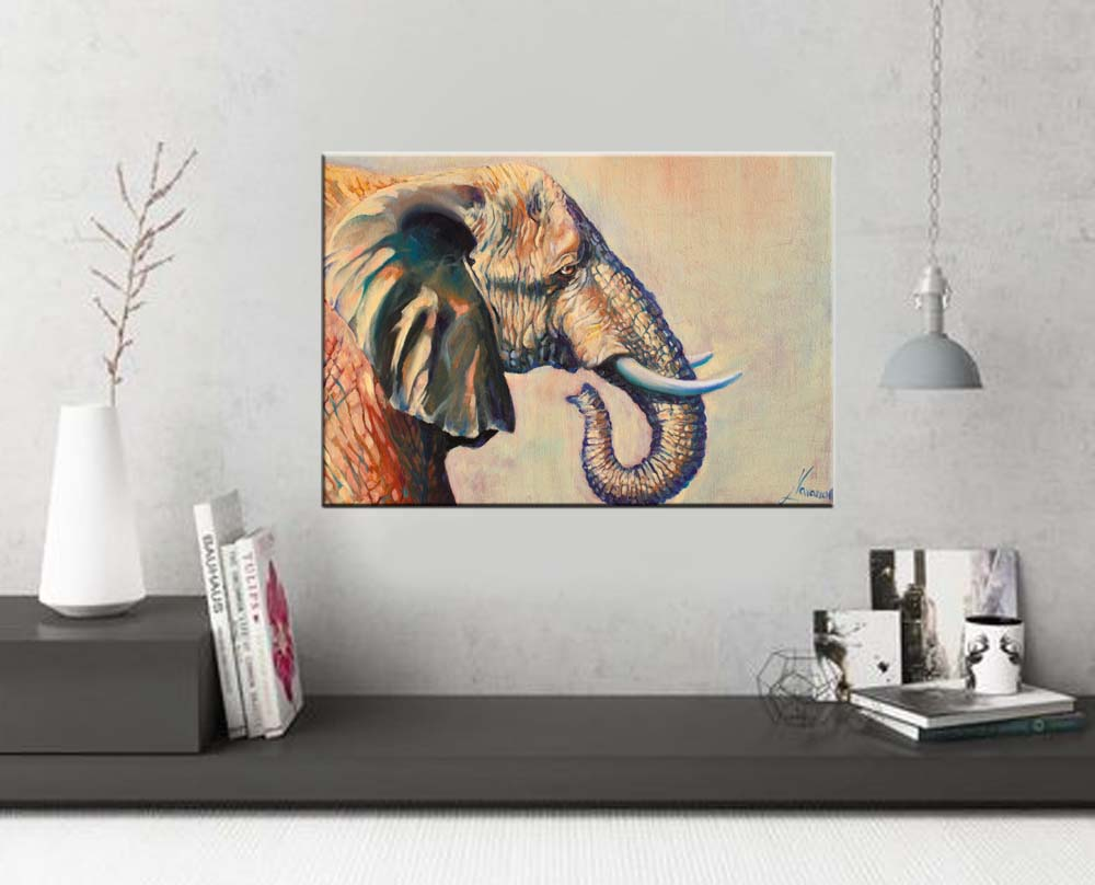 Elephant wall art beautiful giant wildlife art art studio for Canvas painting classes