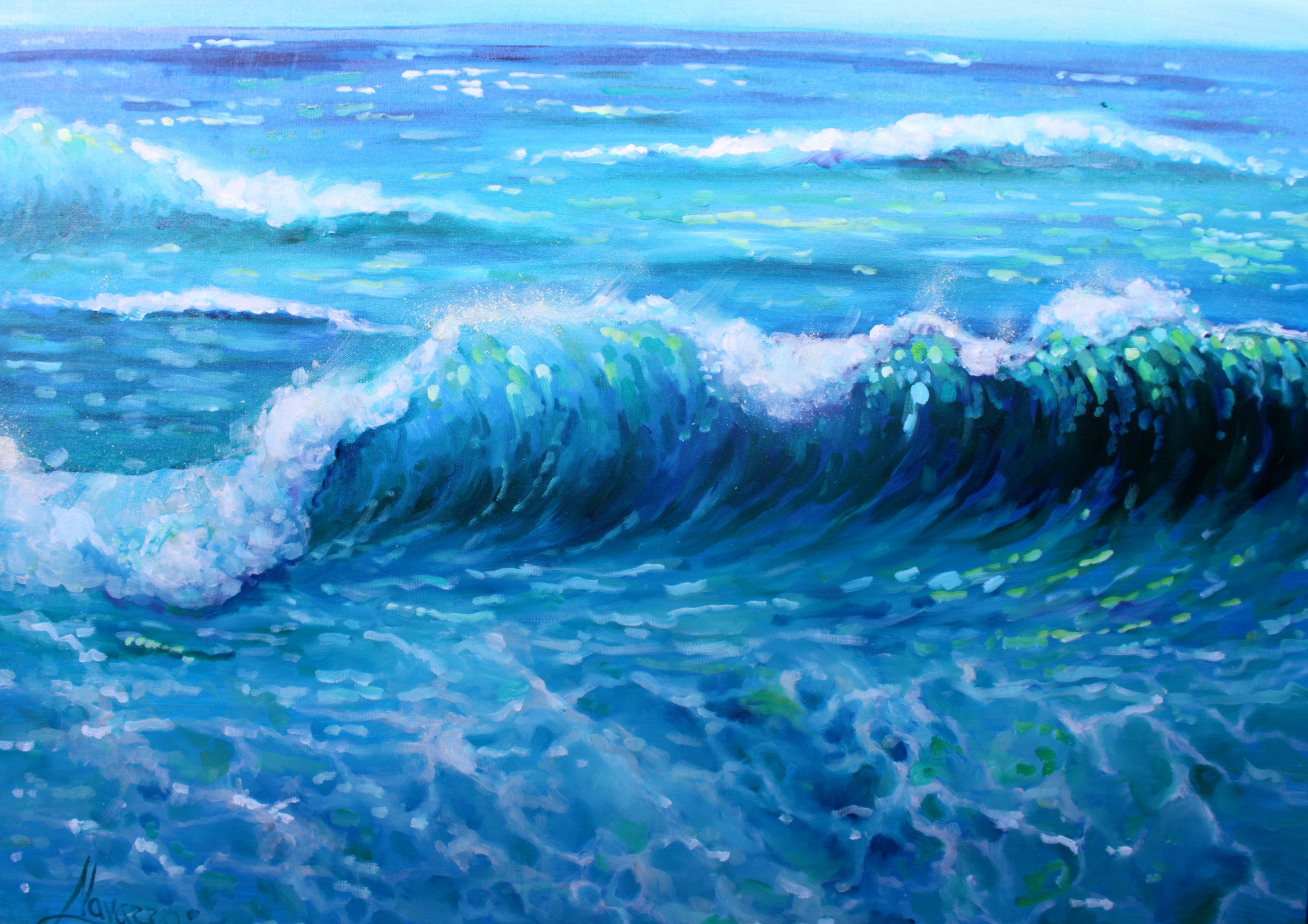 """""""Blue waves"""" ocean painting – navarro art gallery"""