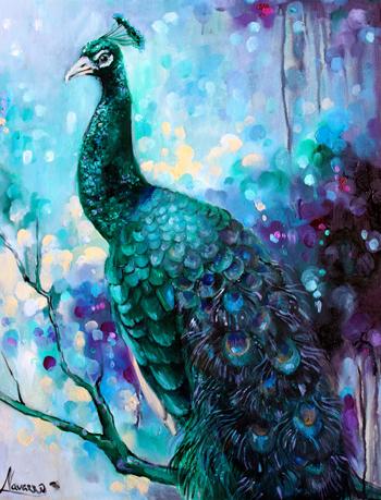 "Peacock painting ""Black Prince"" – art studio"