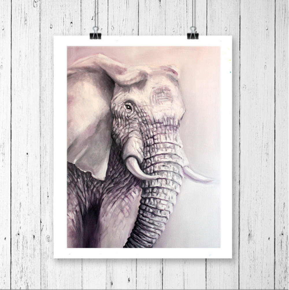 wildlife art prints, elephant art \